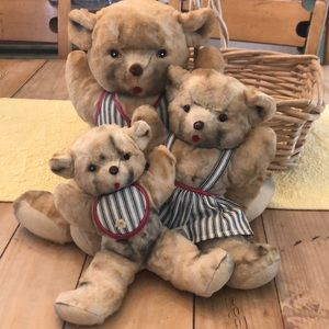 RARE Vintage 40s/50s Clare Creations 3 Bears PLUSH